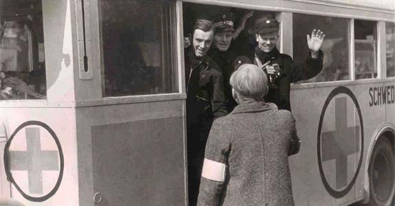Busserne var malet hvide med røde kors på tag, sider, front og bag, så de ikke blev forvekslet med militære køretøjer.