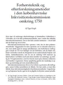 orhørsteknik og efterforskningsmetoder i den københavnske Inkvisitionskommission omkring 1750